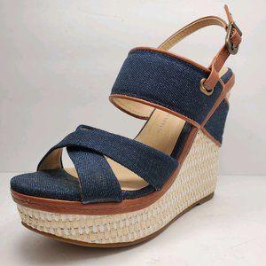 Chinese Laundry   Denim & Brown Wedge Sandals 5